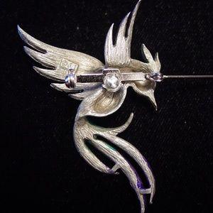 "/""JJ/"" Jonette Jewelry Silver Pewter Winged Long Tailed Bird Pin"